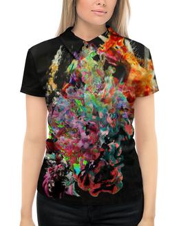 """Рубашка Поло с полной запечаткой """"Цветные чернила. Микс"""" - 8 марта, разноцветный, яркий, фантазия, прин"""