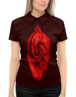 """Рубашка Поло с полной запечаткой """"Красная роза"""" - цветы, цветок, красный, роза, розы"""