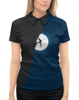 """Рубашка Поло с полной запечаткой """"Скалолаз"""" - скалолаз, минимализм, луна, ночь"""