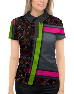 """Рубашка Поло с полной запечаткой """"Абстракция"""" - абстракция, цветы"""
