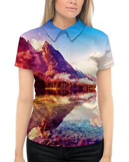 """Рубашка Поло с полной запечаткой """"Природа"""" - природа, горы, вода, пейзаж, краски"""