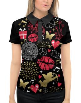 """Рубашка Поло с полной запечаткой """"Валентинка"""" - валентинка, сердце, губы, любовь"""