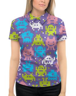 """Рубашка Поло с полной запечаткой """"Космические захватчики"""" - космические захватчики"""