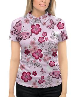 """Рубашка Поло с полной запечаткой """"Бабочки"""" - бабочки, цветы, розовый фон"""