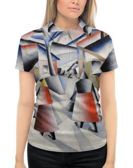 """Рубашка Поло с полной запечаткой """"Утро после вьюги в деревне (Малевич)"""" - картина, живопись, малевич, кубизм, модерн"""