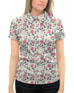"""Рубашка Поло с полной запечаткой """"Розочки"""" - цветы, роза, цветочки, розочки"""