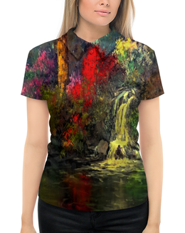 """Рубашка Поло с полной запечаткой """"Водопад"""" - пейзаж, природа, водопад, краски, картина"""