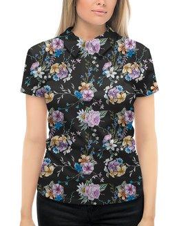 """Рубашка Поло с полной запечаткой """"ЦВЕТОЧНЫЙ СТИЛЬ. РОЗЫ"""" - абстракция, цветочный узор, стиль эксклюзив креатив красота яркость, арт фэнтези"""