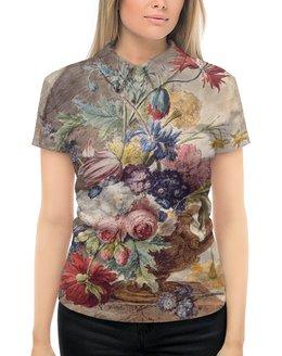 """Рубашка Поло с полной запечаткой """"Цветочный натюрморт (Ян ван Хёйсум)"""" - цветы, картина, живопись, натюрморт, ян ван хёйсум"""