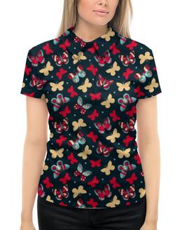 """Рубашка Поло с полной запечаткой """"Бабочки"""" - красиво, бабочки, ярко, природа"""