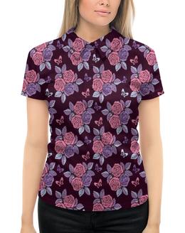 """Рубашка Поло с полной запечаткой """"Букеты роз"""" - бабочки, цветы, роза, розы, букет"""