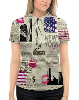 """Рубашка Поло с полной запечаткой """"New York"""" - нью йорк, города, new york, газета, журнал"""