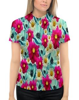 """Рубашка Поло с полной запечаткой """"Цветочный сад"""" - цветы, весна, сад, цветные, цветочки"""