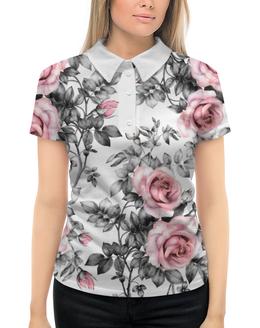 """Рубашка Поло с полной запечаткой """"Цветы"""" - цветы, розы"""