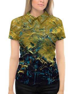 """Рубашка Поло с полной запечаткой """"Abstract"""" - картина, разводы, абстракция, живопись, золотой"""