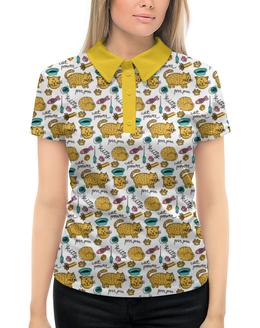 """Рубашка Поло с полной запечаткой """"Коты и рыбки"""" - животные, коты, рыбки, прикольные коты, коты и рыбки"""