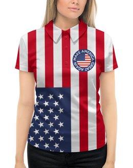 "Рубашка Поло с полной запечаткой ""Make America Great Again"" - америка, usa, политика, путин, трамп"