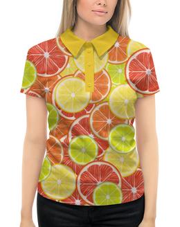 """Рубашка Поло с полной запечаткой """"Цитрусы"""" - апельсин, лайм, лимон, грейпфрут, цитрусы"""