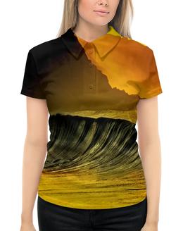 """Рубашка Поло с полной запечаткой """"Волны моря"""" - море, краски, природа, пейзаж, волны"""