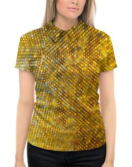 """Рубашка Поло с полной запечаткой """"Стразы"""" - желтый, круги, стразы, блеск, пайетки"""