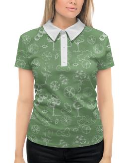 """Рубашка Поло с полной запечаткой """"Деревья в стиле """"скетч"""""""" - деревья, природа, иллюстрация, скетч, 8марта"""