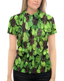 """Рубашка Поло с полной запечаткой """"Зеленые цветы"""" - цветы, весна, природа, цветочки"""