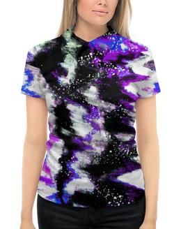 """Рубашка Поло с полной запечаткой """"Буря красок"""" - серый, белый, черный, фиолетовый, синий"""
