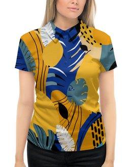 """Рубашка Поло с полной запечаткой """"Тропики с лимонами и монстерой"""" - лето, синий, тропики, лимон, монстера"""
