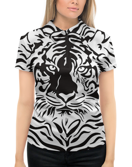 """Рубашка Поло с полной запечаткой """"Взгляд Тигра"""" - рисунок, взгляд, графика, тигр, чёрное и белое"""