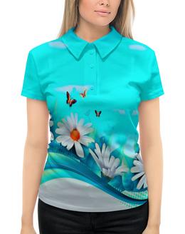 """Рубашка Поло с полной запечаткой """"ромашки"""" - бабочки, цветы, узоры, весна, ромашки"""