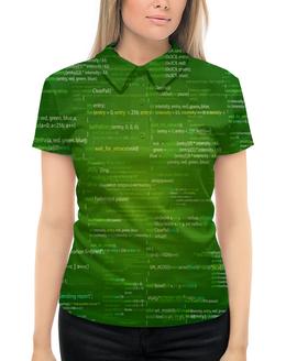 """Рубашка Поло с полной запечаткой """"Кодировка"""" - надписи, знаки, символы, матрица, цифры"""