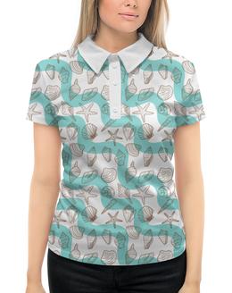 """Рубашка Поло с полной запечаткой """"Ракушки"""" - лето, море, отпуск, ракушки"""