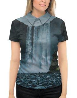 """Рубашка Поло с полной запечаткой """"Summer time!"""" - лето, футболка, отдых, одежда, водопад"""
