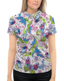 """Рубашка Поло с полной запечаткой """"Цветы и бабочки"""" - бабочки, цветы, узор, листья, весна"""