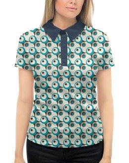 """Рубашка Поло с полной запечаткой """"Круги"""" - серый, белый, черный, голубой, круг"""