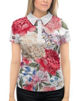 """Рубашка Поло с полной запечаткой """"Летние цветы"""" - лето, цветы"""
