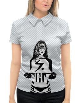 """Рубашка Поло с полной запечаткой """"Девушка робот"""" - девушка, girl, очки, robot, робот"""