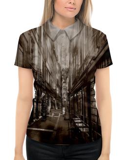 """Рубашка Поло с полной запечаткой """"Улица города"""" - город, здания, улица, коричневый, старинный"""