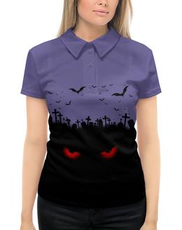 """Рубашка Поло с полной запечаткой """"Взгляд оттуда"""" - рисунок, хэллоуин, взгляд, летучие мыши, кладбище"""