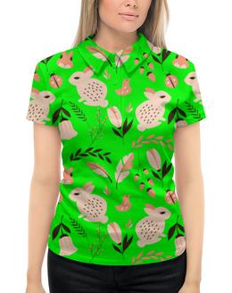 """Рубашка Поло с полной запечаткой """"Лесная поляна"""" - птички, цветочки, белочка, зайчики, божьи коровки"""