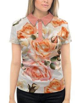 """Рубашка Поло с полной запечаткой """"Чайная роза"""" - розы, цветы"""