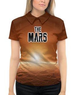 "Рубашка Поло с полной запечаткой ""The Mars (The Planet)"" - надпись, планета, марс, mars, the planet"