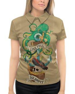"""Рубашка Поло с полной запечаткой """"Осьминог"""" - old school, пират, якорь, татуировка, череп"""
