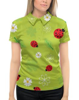 """Рубашка Поло с полной запечаткой """"Божьи коровки"""" - божьи коровки, цветы, лето, насекомое, жуки"""