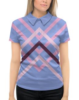 """Рубашка Поло с полной запечаткой """"Графика"""" - графика, авторский дизайн, синий, розовый"""