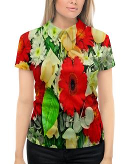 """Рубашка Поло с полной запечаткой """"Букет цветов"""" - цветы, узор, весна, природа, цветочки"""