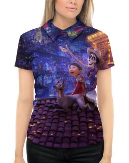"""Рубашка Поло с полной запечаткой """"Тайна Коко"""" - музыка, мультфильм, дисней, приключения, тайна коко"""