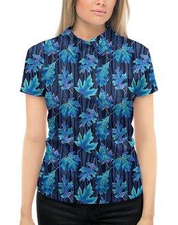 """Рубашка Поло с полной запечаткой """"СИНИЙ ЛИСТОПАД"""" - листья, природа, стиль эксклюзив креатив красота яркость, арт фэнтези"""