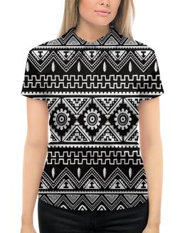 """Рубашка Поло с полной запечаткой """"Черно-белая графика"""" - узор, графика, абстракция, черно-белые, треугольники"""