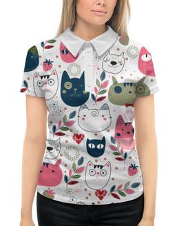 """Рубашка Поло с полной запечаткой """"прикольные коты"""" - животные, кот, прикольные коты"""